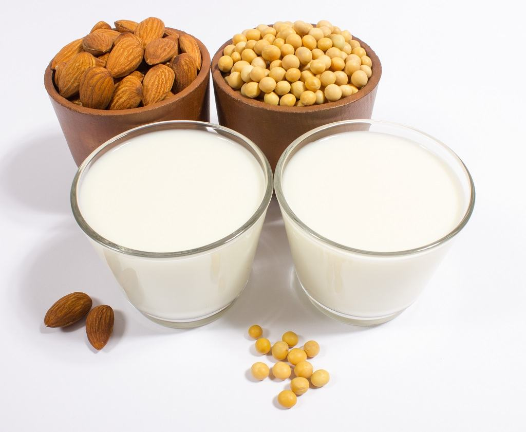 two cups of soy milk and nuts