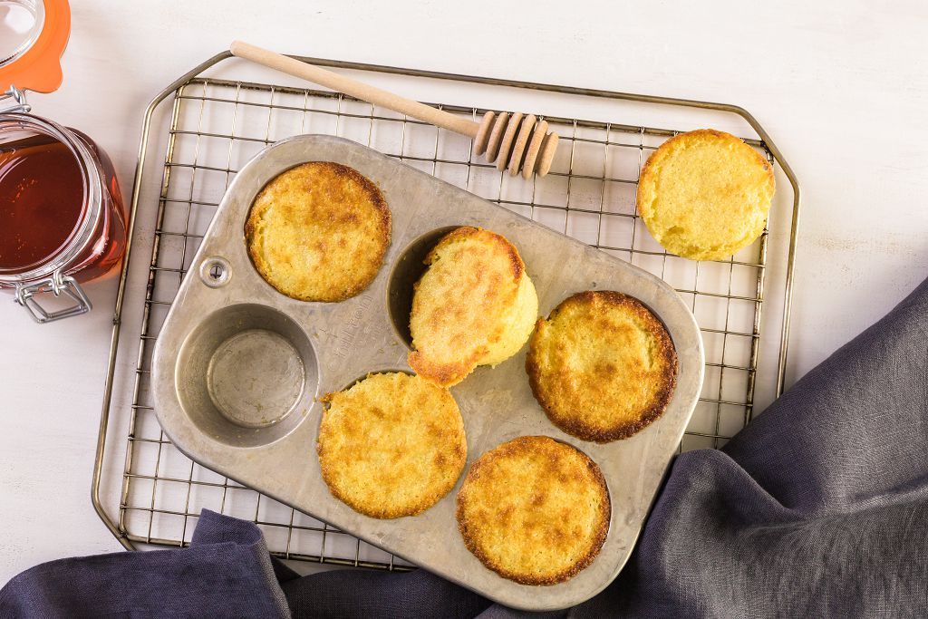 cornbread in a tray and a spoon