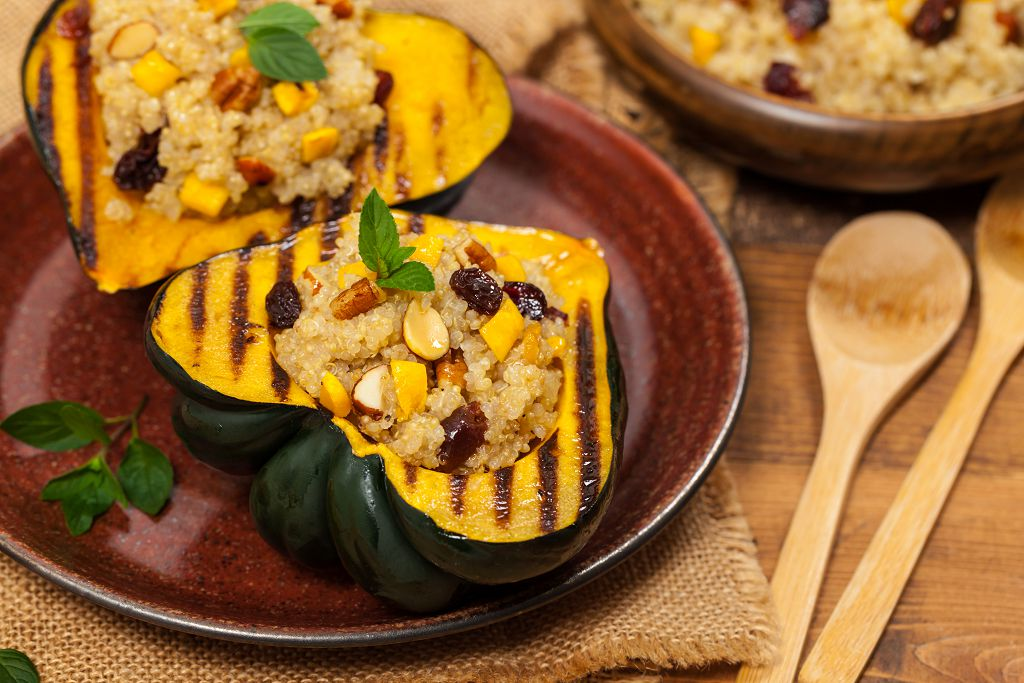fried rice with Acorn Squash and spoons on the table
