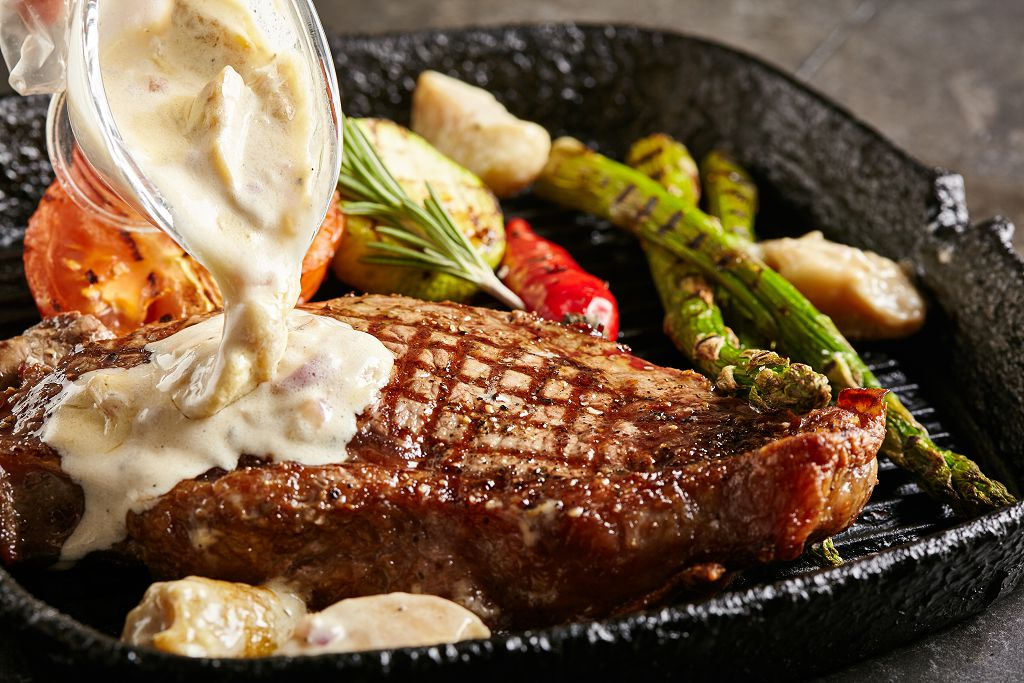 Grilled Beef Steak and vegetables on the plate