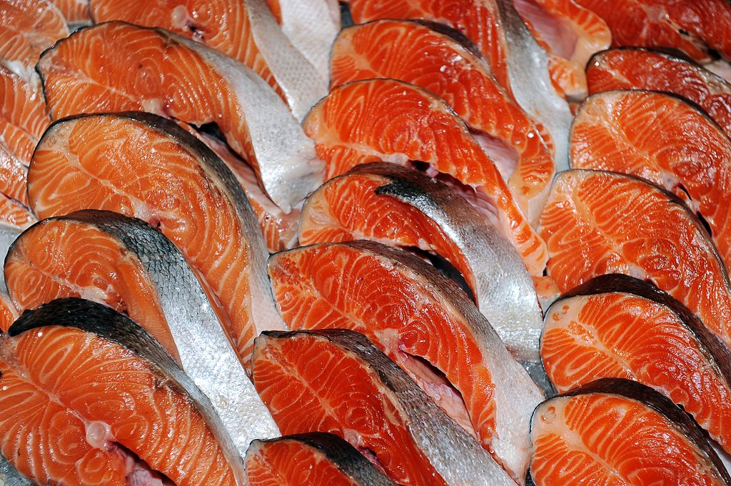 pieces of fresh salmon