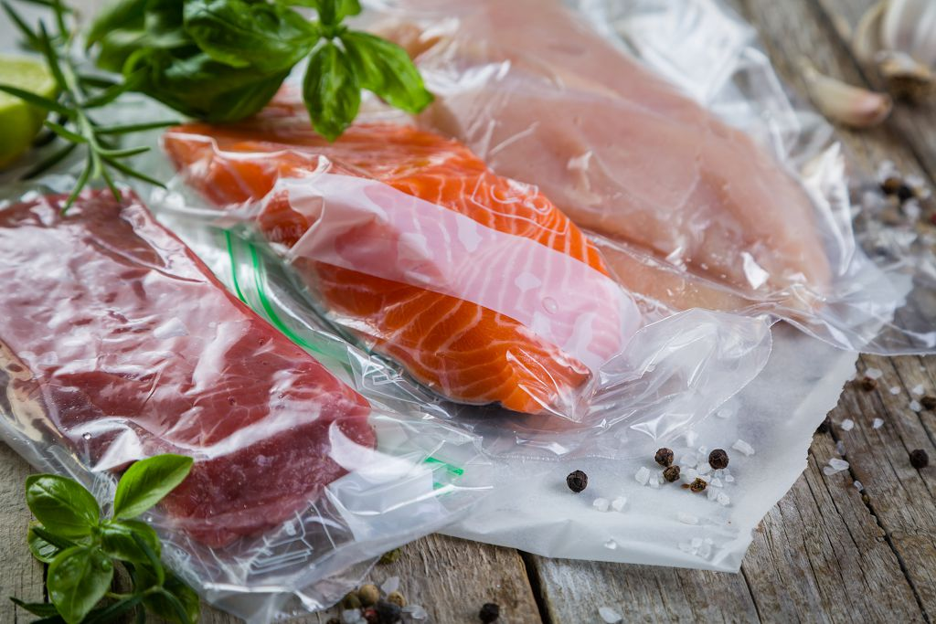 Salmon in the plastic bags