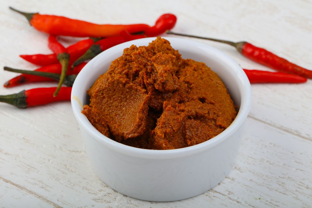 A bowl of Curry Powder and peppers