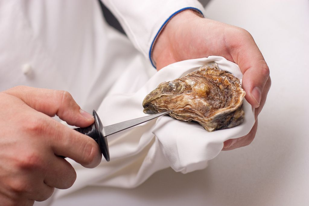 a knife into the base of the oyster