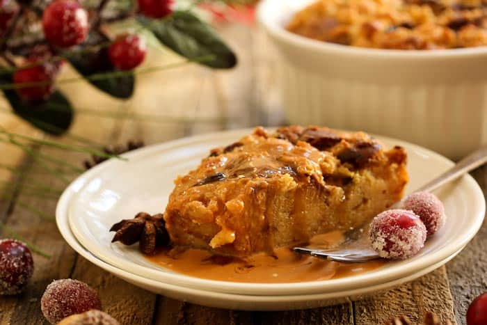 A plate of Vegan Bread Pudding  and a fork