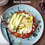 Huevos Rancheros With Home Made Guajillo Sauce And Crumbled Cotija
