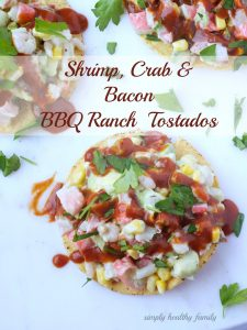 Shrimp, Crab And Bacon Bbq Ranch Tostados