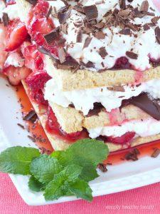 Chocolate-Strawberry Shortcake Stacks With Vanilla Bourbon Whip Cream