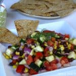 Zuccini-Black Bean Chopped Salad with Yogurt-Dill and Toasted Flat Bread Chips