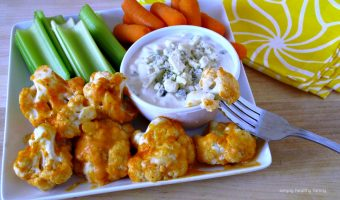 Baked Cauliflower With Buffalo Sauce And Home Made Blu Cheese Dressing