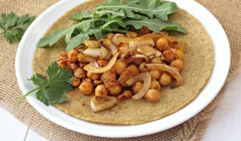 Sweet And Smokey Slow Cooked Garbanzo Beans On Flax Seed Crepes And A Set Of Spices And Flavored Salt From Gourmet Nut Give Away!