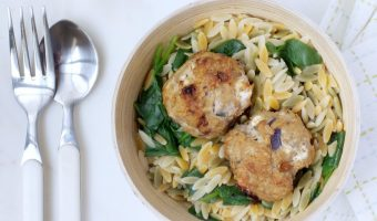 Sun Dried Tomato & Bulgarian Feta Chicken Meatballs Over Lemon-Spinach Orzo #Sundaysupper