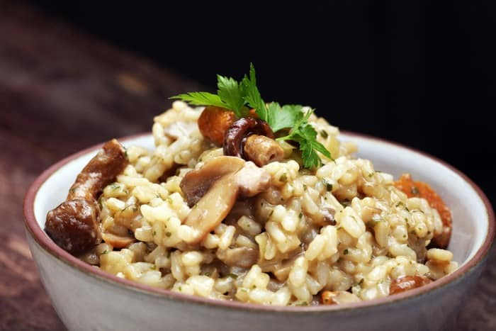 A bowl of Brown Rice Risotto with Mushrooms