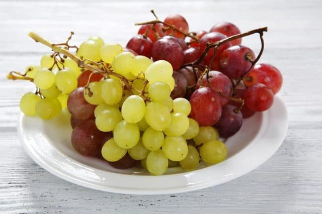 a plate of Grape on the table