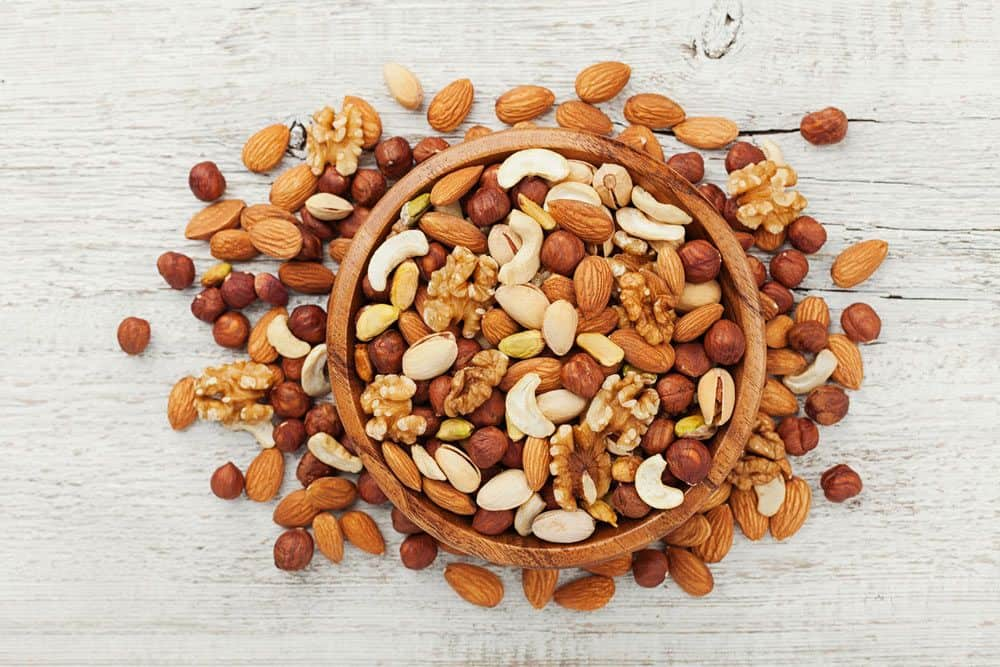 a mixture of nuts on the table