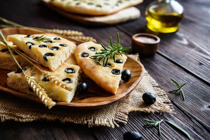 A plate of Focaccia Olive Flatbread on the table