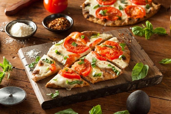 Mediterranean Flatbreads on the chopping board