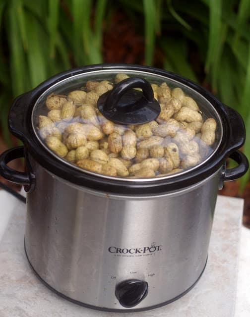 A crock pot of peanuts