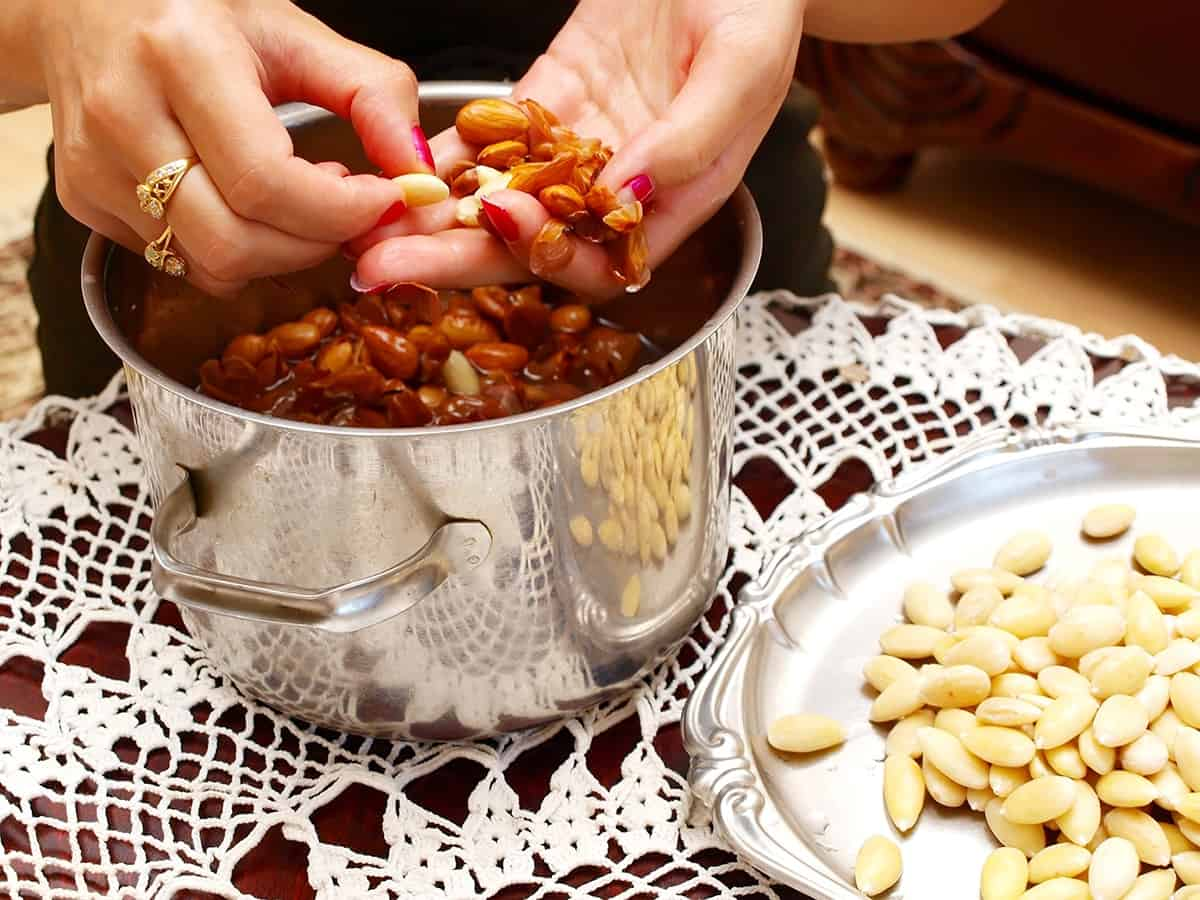 transfer the almonds to a colander to drain the soaking water